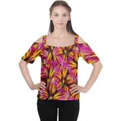 Floral Pattern Background Seamless Women s Cutout Shoulder Tee