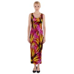 Floral Pattern Background Seamless Fitted Maxi Dress
