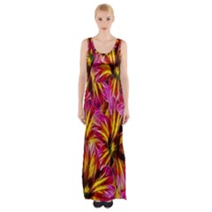Floral Pattern Background Seamless Maxi Thigh Split Dress