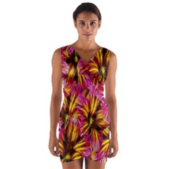 Floral Pattern Background Seamless Wrap Front Bodycon Dress