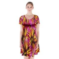 Floral Pattern Background Seamless Short Sleeve V-neck Flare Dress