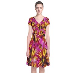 Floral Pattern Background Seamless Short Sleeve Front Wrap Dress