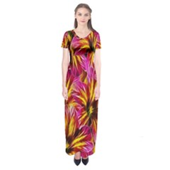 Floral Pattern Background Seamless Short Sleeve Maxi Dress
