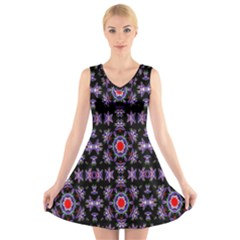 Digital Computer Graphic Seamless Wallpaper V Neck Sleeveless Skater Dress