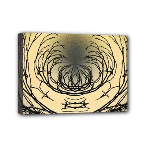 Atmospheric Black Branches Abstract Mini Canvas 7  X 5