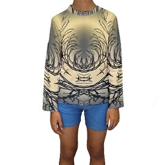 Atmospheric Black Branches Abstract Kids  Long Sleeve Swimwear