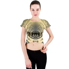 Atmospheric Black Branches Abstract Crew Neck Crop Top