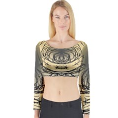 Atmospheric Black Branches Abstract Long Sleeve Crop Top