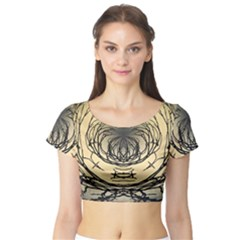Atmospheric Black Branches Abstract Short Sleeve Crop Top (Tight Fit)