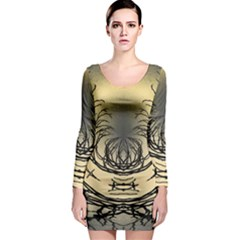 Atmospheric Black Branches Abstract Long Sleeve Bodycon Dress