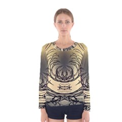 Atmospheric Black Branches Abstract Women s Long Sleeve Tee