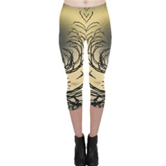 Atmospheric Black Branches Abstract Capri Leggings