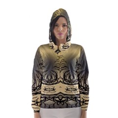 Atmospheric Black Branches Abstract Hooded Wind Breaker (women)