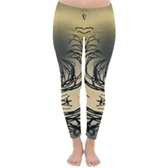 Atmospheric Black Branches Abstract Classic Winter Leggings