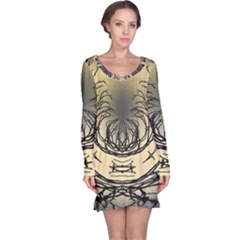 Atmospheric Black Branches Abstract Long Sleeve Nightdress
