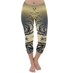 Atmospheric Black Branches Abstract Capri Winter Leggings