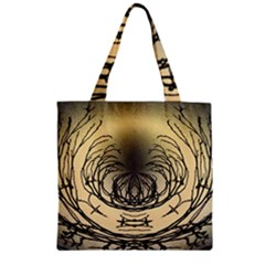 Atmospheric Black Branches Abstract Zipper Grocery Tote Bag