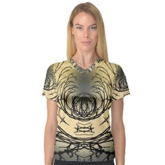 Atmospheric Black Branches Abstract Women s V-Neck Sport Mesh Tee