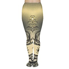 Atmospheric Black Branches Abstract Women s Tights