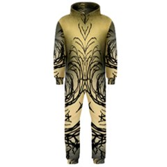 Atmospheric Black Branches Abstract Hooded Jumpsuit (Men)