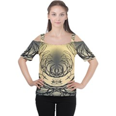 Atmospheric Black Branches Abstract Women s Cutout Shoulder Tee