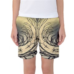 Atmospheric Black Branches Abstract Women s Basketball Shorts