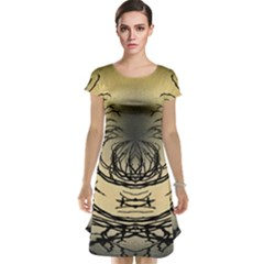 Atmospheric Black Branches Abstract Cap Sleeve Nightdress
