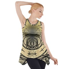 Atmospheric Black Branches Abstract Side Drop Tank Tunic