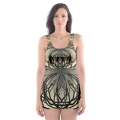 Atmospheric Black Branches Abstract Skater Dress Swimsuit