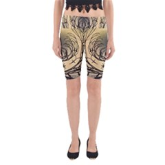 Atmospheric Black Branches Abstract Yoga Cropped Leggings
