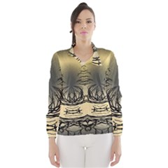 Atmospheric Black Branches Abstract Wind Breaker (women)