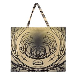 Atmospheric Black Branches Abstract Zipper Large Tote Bag