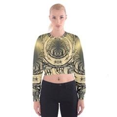Atmospheric Black Branches Abstract Cropped Sweatshirt