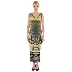 Atmospheric Black Branches Abstract Fitted Maxi Dress
