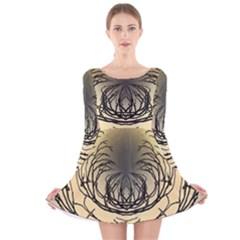 Atmospheric Black Branches Abstract Long Sleeve Velvet Skater Dress
