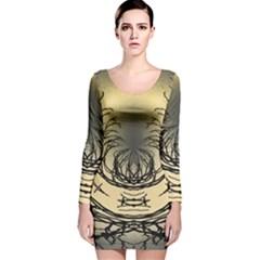 Atmospheric Black Branches Abstract Long Sleeve Velvet Bodycon Dress