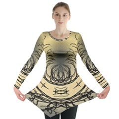 Atmospheric Black Branches Abstract Long Sleeve Tunic