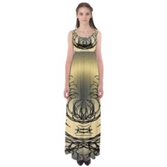 Atmospheric Black Branches Abstract Empire Waist Maxi Dress