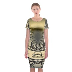 Atmospheric Black Branches Abstract Classic Short Sleeve Midi Dress