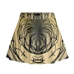 Atmospheric Black Branches Abstract Mini Flare Skirt