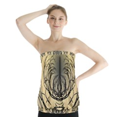 Atmospheric Black Branches Abstract Strapless Top