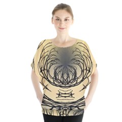 Atmospheric Black Branches Abstract Blouse