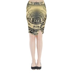 Atmospheric Black Branches Abstract Midi Wrap Pencil Skirt