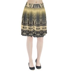Atmospheric Black Branches Abstract Pleated Skirt