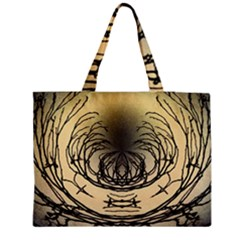 Atmospheric Black Branches Abstract Medium Zipper Tote Bag