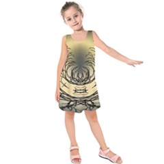 Atmospheric Black Branches Abstract Kids  Sleeveless Dress
