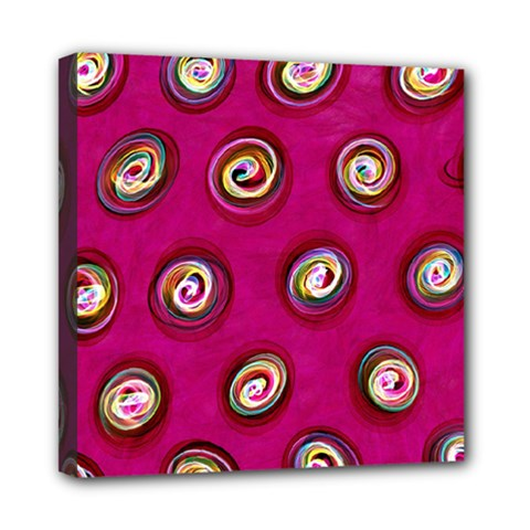 Digitally Painted Abstract Polka Dot Swirls On A Pink Background Mini Canvas 8  x 8