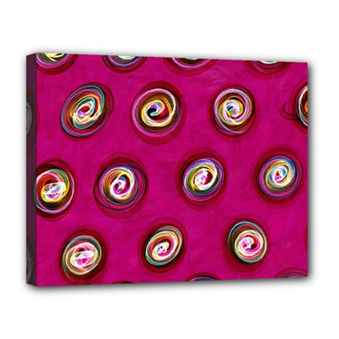 Digitally Painted Abstract Polka Dot Swirls On A Pink Background Canvas 14  x 11