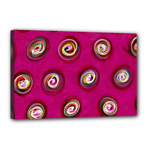 Digitally Painted Abstract Polka Dot Swirls On A Pink Background Canvas 18  x 12