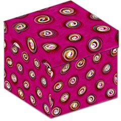 Digitally Painted Abstract Polka Dot Swirls On A Pink Background Storage Stool 12